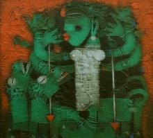 Religious Acrylic Art Painting title Devi 4 by artist Basuki Dasgupta
