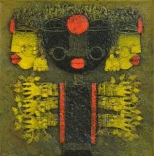 Religious Acrylic Art Painting title Devi 5 by artist Basuki Dasgupta