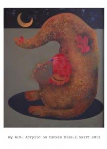 Expressionist Acrylic Art Painting title MY AIM by artist Pradnya Khandgonkar