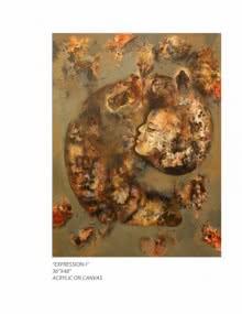 Expressionist Acrylic Art Painting title Expression I by artist Pradnya Khandgonkar