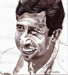 Saurabh Turakhia | Watercolor Painting title Naseeruddin Shah smiling from ear to ear on Paper | Artist Saurabh Turakhia Gallery | ArtZolo.com