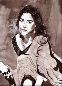 Portrait Watercolor Art Painting title 'Being Beautiful' by artist Saurabh Turakhia