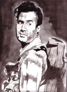 Realistic Watercolor Art Painting title 'Superstar Dev Anand' by artist Saurabh Turakhia