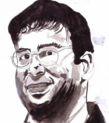 Photorealistic Watercolor Art Painting title 'Viswanathan Anand is a Chess Champion' by artist Saurabh Turakhia