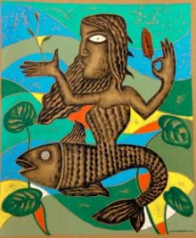 Mother Fish | Painting by artist Ranjith Raghupathy | acrylic | Cardboard