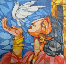Figurative Acrylic Art Painting title 'Woman With a Bird' by artist Pradip Goswami