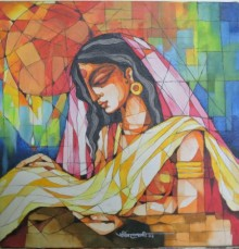 Figurative Acrylic Art Painting title 'Indian Woman' by artist Pradip Goswami