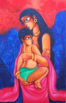Figurative Acrylic Art Painting title 'Unconditional Love' by artist Pradip Goswami