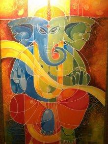 Pradip Goswami | Acrylic Painting title Ganesha I on Canvas | Artist Pradip Goswami Gallery | ArtZolo.com