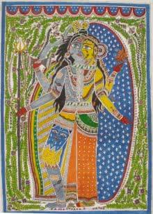 Figurative Watercolor Art Painting title 'Ardhnariswar' by artist Parboni Royghosh