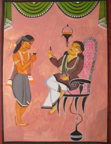 Figurative Mixed-media Art Painting title 'Babu And Servant Kalighat Painting' by artist Parboni Royghosh