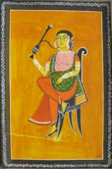 Lady With Hookah | Painting by artist Parboni Royghosh | watercolor | Handmade Paper