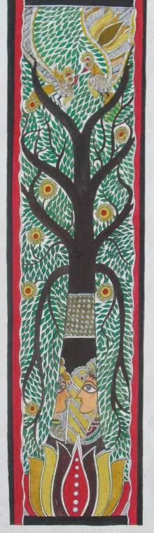 Madhubani Tree Of Life | Painting by artist Parboni Royghosh | watercolor | Handmade Paper