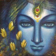 Religious Acrylic Art Painting title 'Krishna' by artist Madhumita Bhattacharya