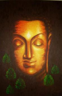 Divine Buddha | Painting by artist Madhumita Bhattacharya | oil | Canvas