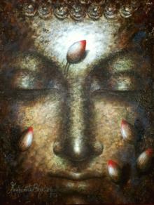 Portrait Acrylic Art Painting title 'Dhyan Buddha' by artist Madhumita Bhattacharya