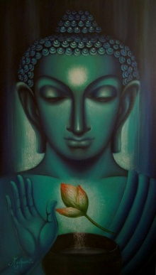 Buddham | Painting by artist Madhumita Bhattacharya | oil | Canvas