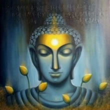 Religious Oil Art Painting title 'Buddham' by artist Madhumita Bhattacharya