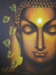 Religious Oil Art Painting title 'Buddham Sharanam' by artist Madhumita Bhattacharya