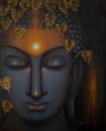 Madhumita Bhattacharya | Oil Painting title Divine Soul on Canvas | Artist Madhumita Bhattacharya Gallery | ArtZolo.com