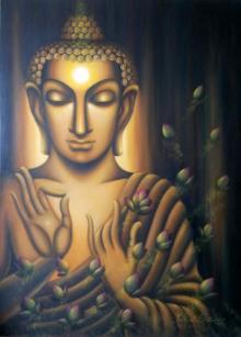 Religious Oil Art Painting title 'Buddha Divine Soul' by artist Madhumita Bhattacharya