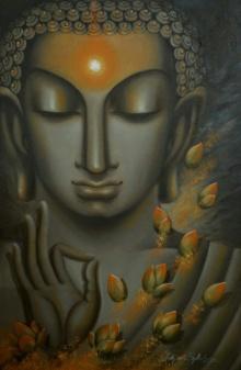 Religious Oil Art Painting title 'Divyajyoti' by artist Madhumita Bhattacharya