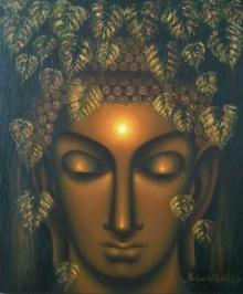 Religious Oil Art Painting title 'Moksha' by artist Madhumita Bhattacharya
