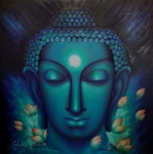 Religious Oil Art Painting title 'The Enlightened One' by artist Madhumita Bhattacharya