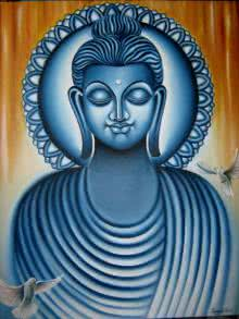 Figurative Oil Art Painting title 'Lord buddha painting' by artist Ramesh