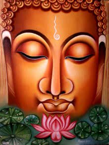 Figurative Oil Art Painting title 'Lord buddha Painting Figurative Ind' by artist Ramesh Patel