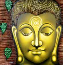 Religious Oil Art Painting title 'Serene Buddha' by artist Ramesh Patel