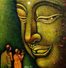 Religious Acrylic Art Painting title 'Lord buddha 7 painting' by artist Ramesh
