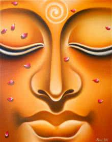Ramesh | Oil Painting title Lord buddha 6 painting on Canvas Board | Artist Ramesh Gallery | ArtZolo.com
