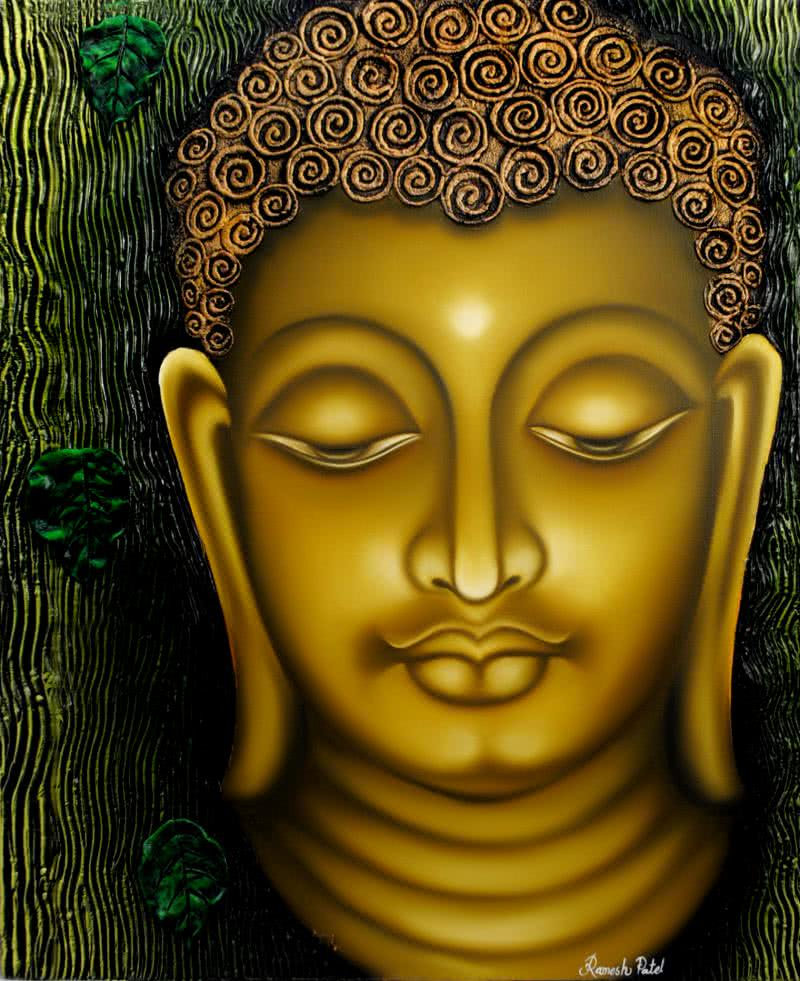 Lord buddha painting by artist ramesh oil paintings for Buddha mural paintings