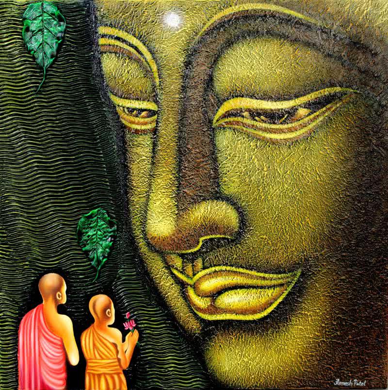 lord buddha painting by artist ramesh figurative art acrylic
