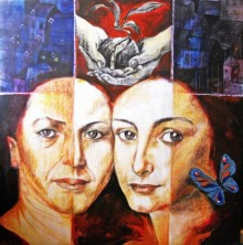 Sisters and the city   Pastel by artist Partho Sengupta   on PVC Board