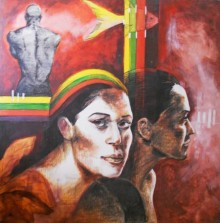 Mixed Media Painting titled 'Soul Reflection' by artist Partho Sengupta on PVC Board