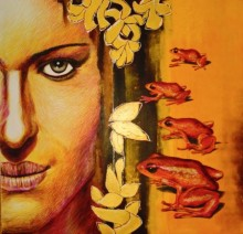 Mixed Media Painting titled 'Kiss' by artist Partho Sengupta on PVC board
