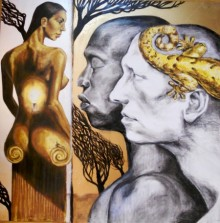Mixed Media Painting titled 'Smitten' by artist Partho Sengupta on PVC