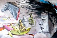 Mixed Media Painting titled 'Celestial Flesh' by artist Partho Sengupta on Canvas