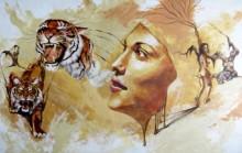 Mixed Media Painting titled 'Shakti' by artist Partho Sengupta on Canvas