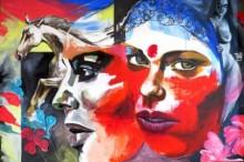 Impressionist Acrylic Art Painting title Escape to Life by artist Partho Sengupta
