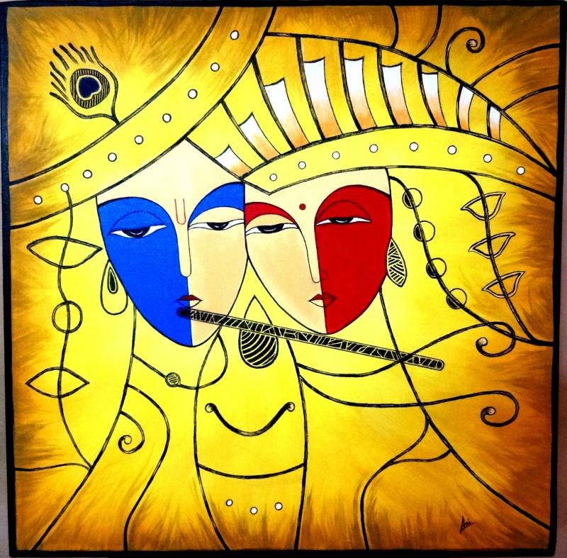 Radha Krishna by artist Nirmal Ramesan | Figurative Art | acrylic ...
