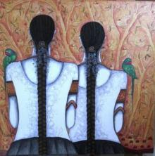 Friends | Painting by artist Kappari Kishan | acrylic | Canvas