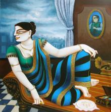 Gautam Mukherjee | Acrylic Painting title Charulata on Canvas | Artist Gautam Mukherjee Gallery | ArtZolo.com