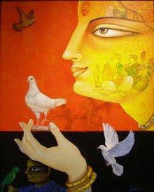 Gautam Mukherjee | Acrylic Painting title Charulata II on Canvas | Artist Gautam Mukherjee Gallery | ArtZolo.com