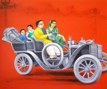Gautam Mukherjee | Acrylic Painting title 1920 Vintage Car on Canvas | Artist Gautam Mukherjee Gallery | ArtZolo.com
