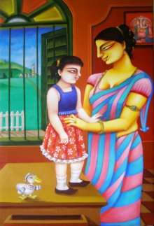 Gautam Mukherjee | Acrylic Painting title Mother and Daughter on Canvas | Artist Gautam Mukherjee Gallery | ArtZolo.com