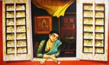 Window | Painting by artist Gautam Mukherjee | acrylic | Canvas