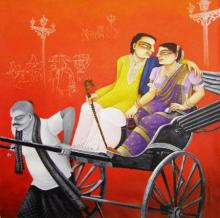 SOLD | Painting by artist Gautam Mukherjee | mixed-media | Canvas
